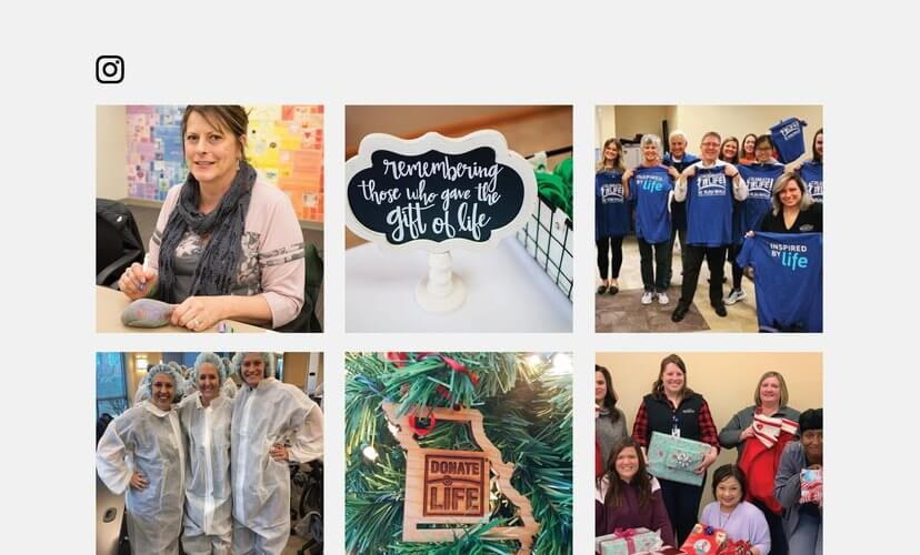 Collage of Mid-America Transplant Instagram Images
