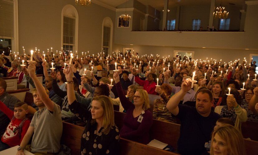 Candles raised in honor of organ and tissue donors at the 2019 St Louis Candlelight Memorial.