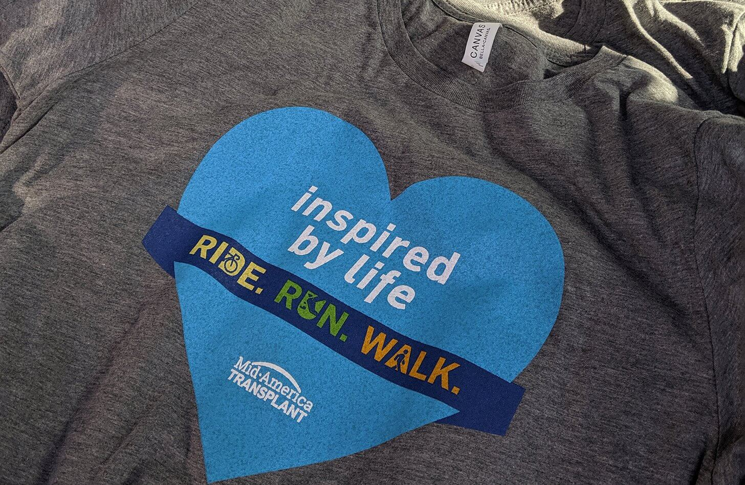 Special t-shirts were made for attendees of the Inspired by Life Ride Run Walk.