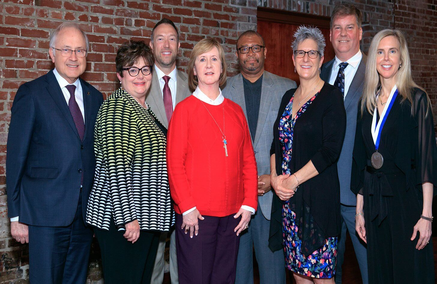 From left to right: Dr. Wilmott, Diane Brockmeier, Paul Ross, Candace Jennings, Dr. Henry Randall, Jane Beckman, Dr. Mark Schnitzler, Dr. Krista Lentine