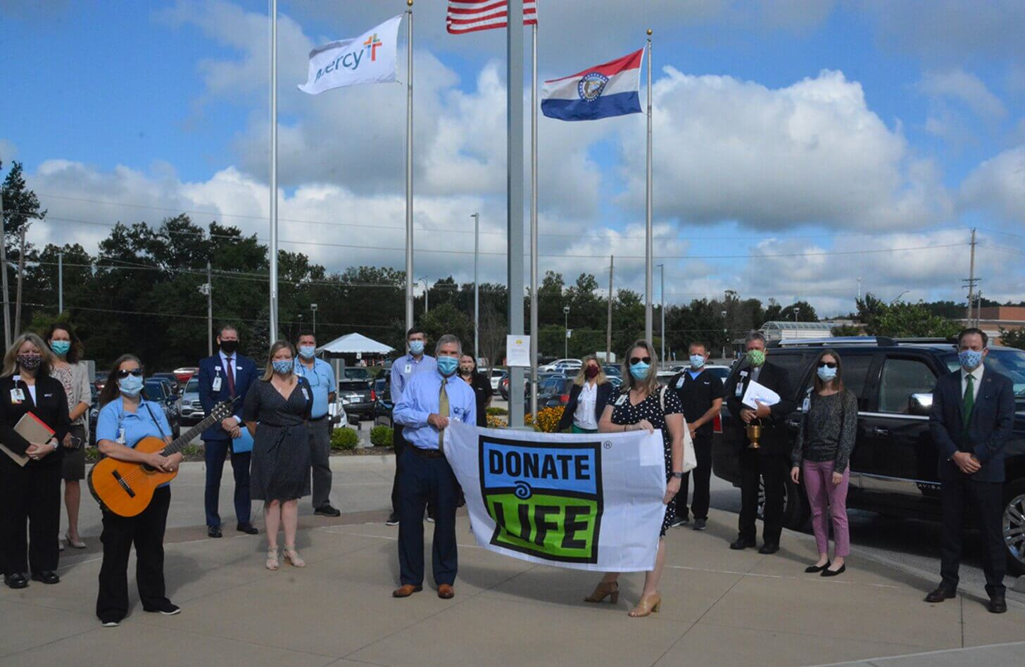 Mercy Hospital Jefferson held a flag raising ceremony, adding the Donate Life flag.